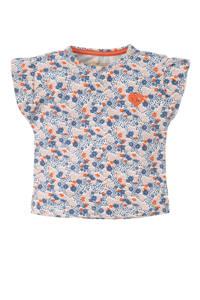 Tumble 'n Dry Zero baby gebloemd regular fit T-shirt Margot blauw/lichtroze/rood, Blauw/lichtroze/rood