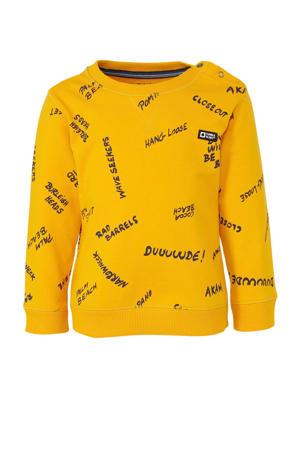sweater Talbot met all over print geel/zwart