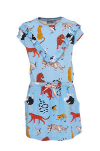 Tumble 'n Dry Mid jersey jurk Lorah met all over print en ruches lichtblauw/rood/zwart, Lichtblauw/rood/zwart