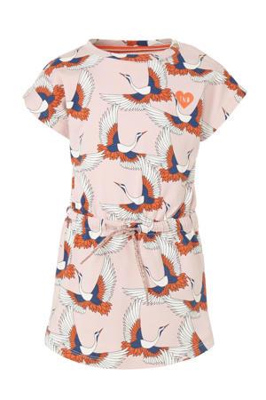 jersey jurk Mila met all over print lichtroze/oranje/donkerblauw