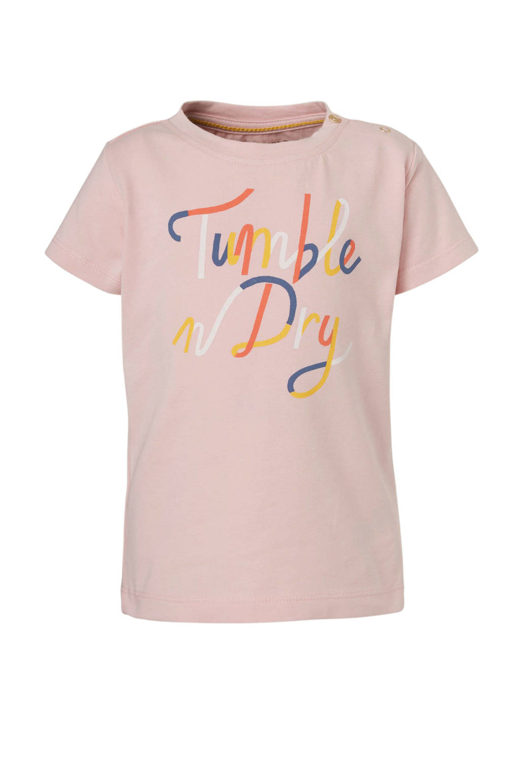 Tumble 'n Dry Lo regular fit T-shirt Myrte met tekst lichtroze/multi, Lichtroze/multi