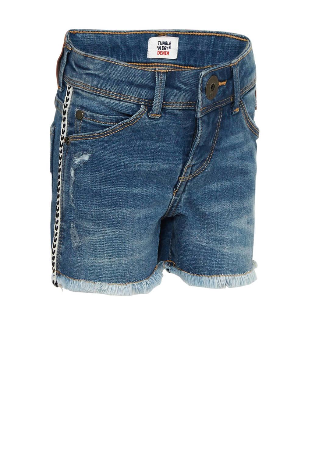 Tumble 'n Dry Mid skinny jeans short Steveli met zijstreep dark denim/wit/zwart, Dark denim/wit/zwart