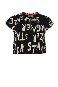 Tumble 'n Dry Hi cropped T-shirt met all over print zwart/wit, Zwart/wit