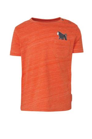 gemêleerd regular fit T-shirt Thoas oranje/wit/antraciet