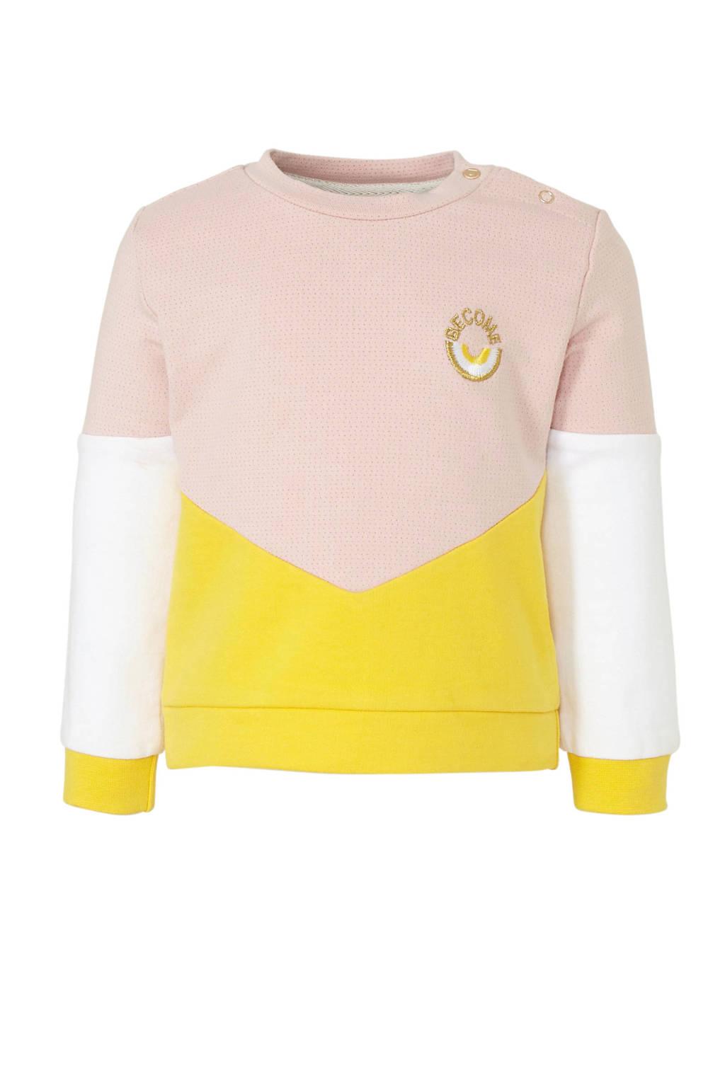 Tumble 'n Dry Lo sweater Mase met biologisch katoen lichtroze/geel/wit, Lichtroze/geel/wit