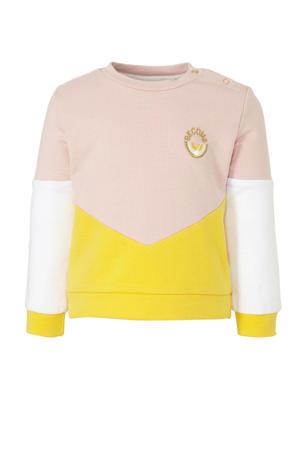 sweater Mase met biologisch katoen lichtroze/geel/wit