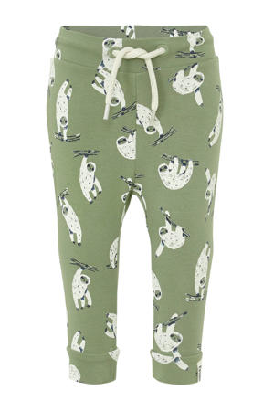 baby regular fit broek Toep met dierenprint groen/ecru/donkerblauw