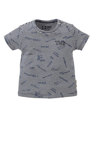 baby gestreept regular fit T-shirt Tamiz donkerblauw/wit