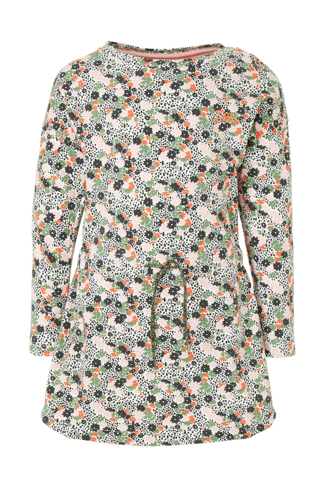 Tumble 'n Dry Lo gebloemde jersey jurk Maike groen/lichtroze/koraalrood, Groen/lichtroze/koraalrood