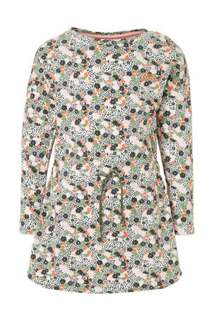 gebloemde jersey jurk Maike groen/lichtroze/koraalrood