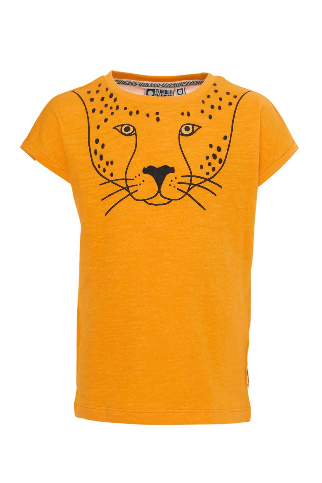 Tumble 'n Dry Mid regular fit T-shirt Lia van biologisch katoen okergeel/zwart
