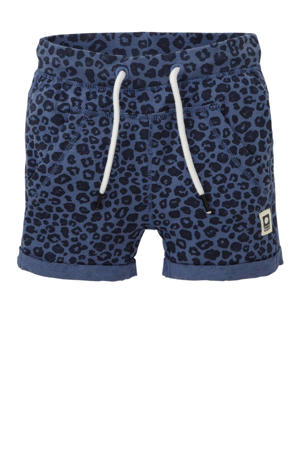 regular fit short Tobe met panterprint blauw/donkerblauw