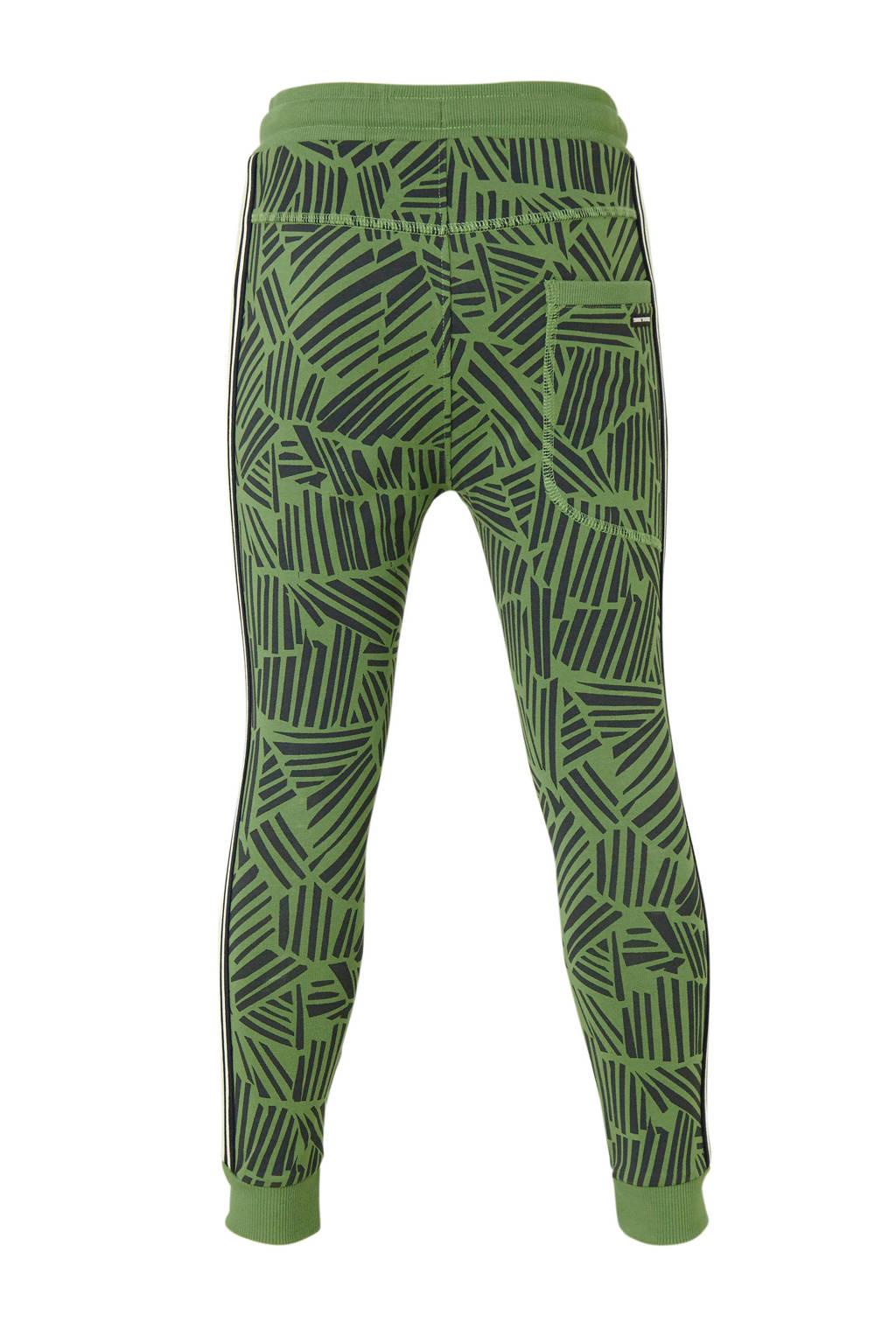 Tumble 'n Dry Mid   regular fit joggingbroek Waldemar met biologisch katoen groen/zwart/wit, Groen/zwart/wit
