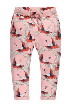 regular fit broek Monica met all over print roze/blauw/oranje