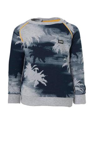 sweater Tiyo met all over print grijs/donkerblauw/oranje