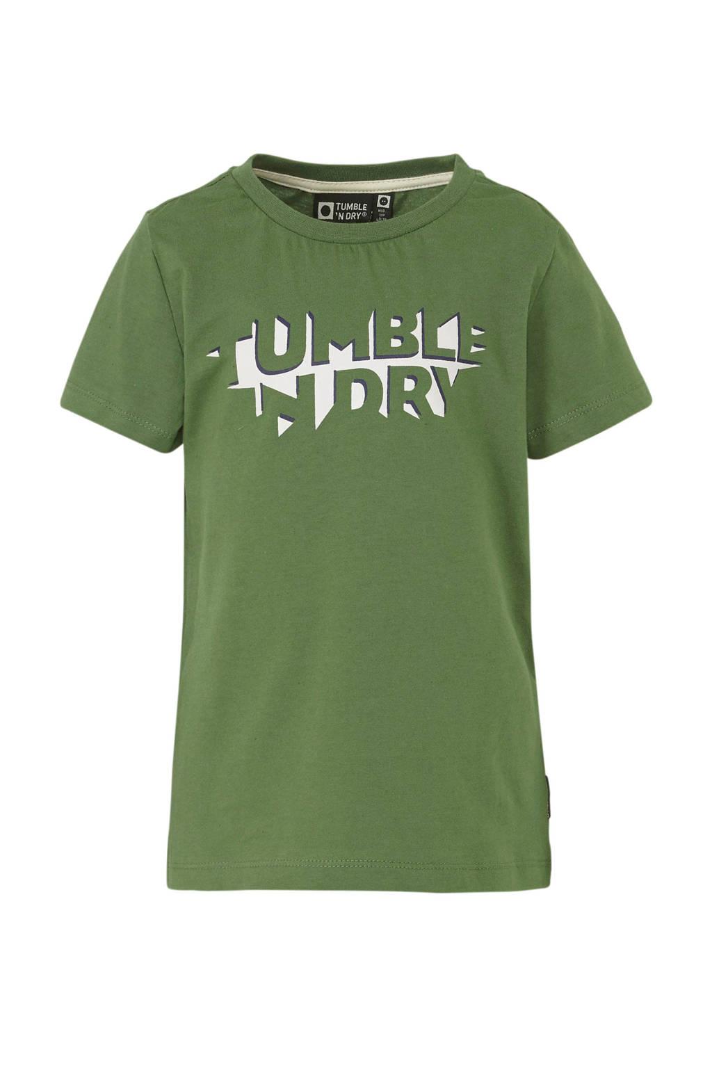 Tumble 'n Dry Mid regular fit T-shirt Gus met logo groen/wit/donkerblauw, Groen/wit/donkerblauw
