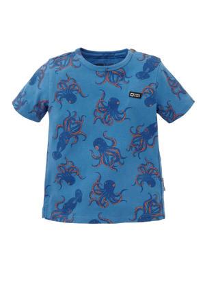 regular fit T-shirt Taimond met biologisch katoen blauw/donkerblauw/oranje