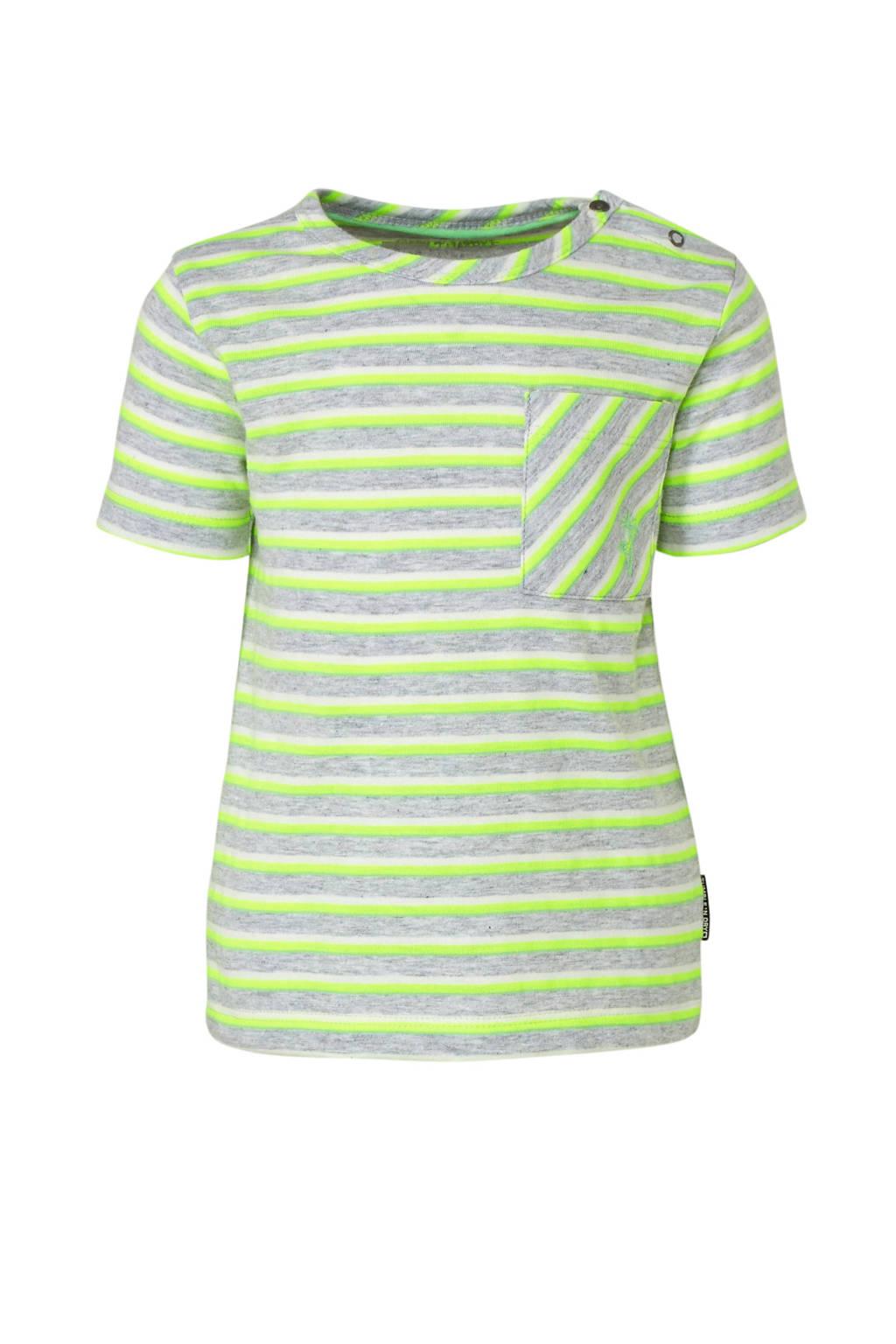 Tumble 'n Dry Lo gestreept regular fit T-shirt Teijo grijs/groen/wit, Grijs/groen/wit