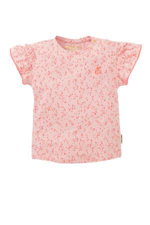 regular fit T-shirt Mirte met all over print en ruches lichtroze/oranje