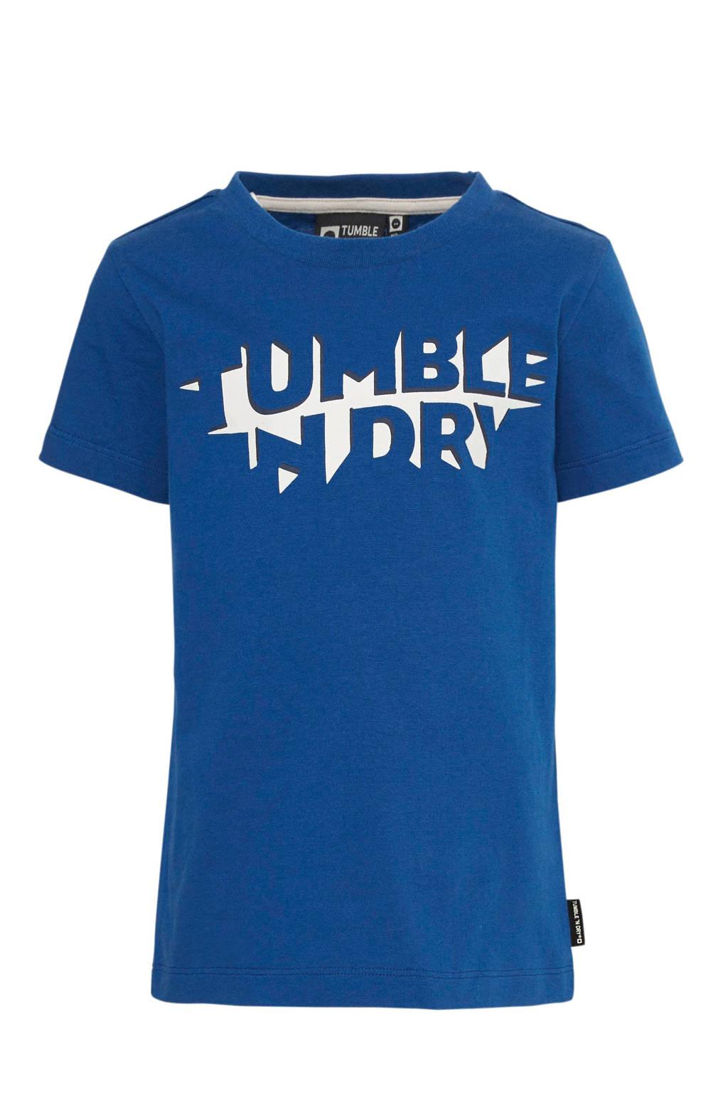 Tumble 'n Dry Mid regular fit T-shirt Gus met logo blauw/wit, Blauw/wit