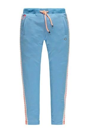 slim fit broek Luce met zijstreep lichtblauw
