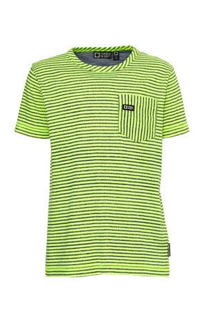 gestreept regular fit T-shirt Gittey neon geel/zwart