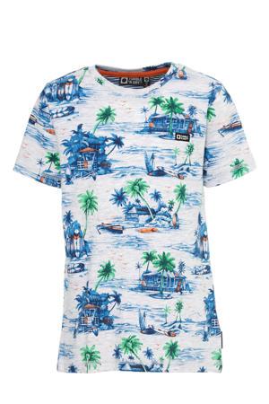 regular fit T-shirt Wael van biologisch katoen wit/blauw/groen