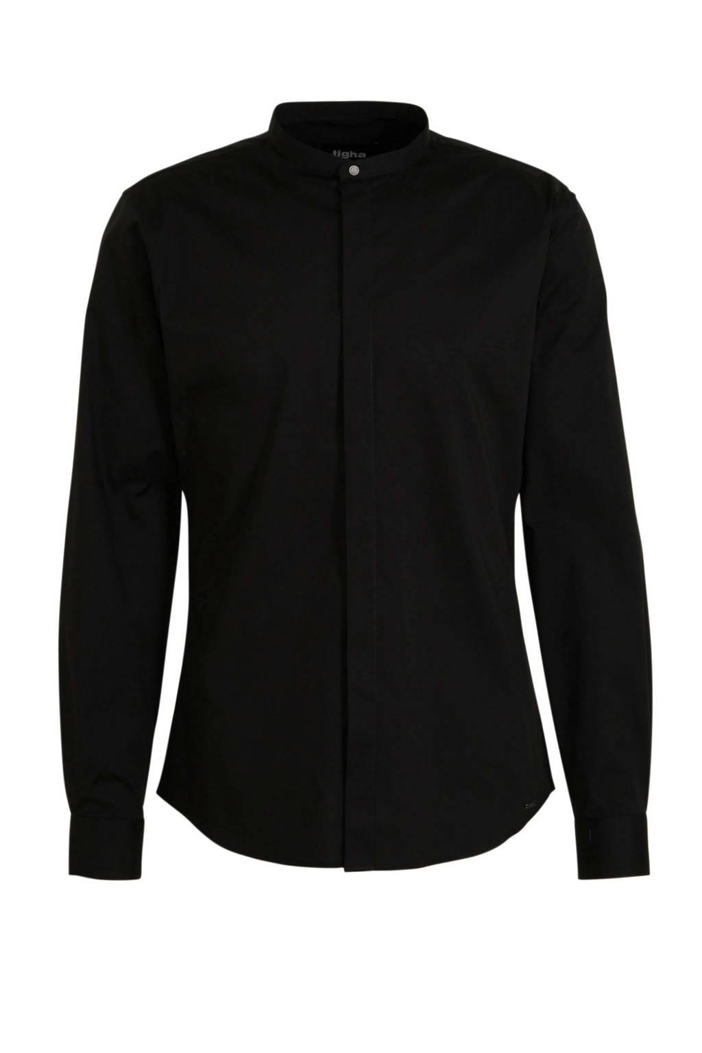 Tigha regular fit overhemd zwart, Zwart