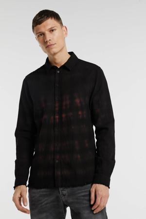 regular fit overhemd zwart/rood