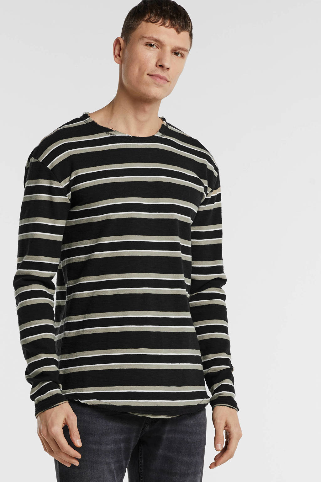 Tigha gestreepte sweater zwart/zand, Zwart/zand