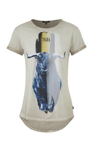 T-shirt met printopdruk grijs/blauw