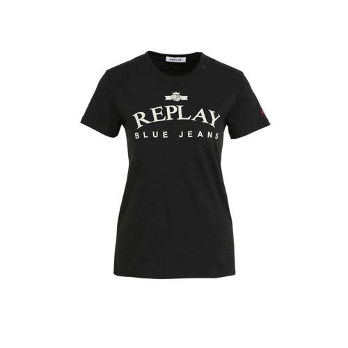 REPLAY T-shirt met logo zwart