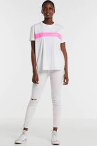 REPLAY T-shirt met logo wit/roze, Wit/roze