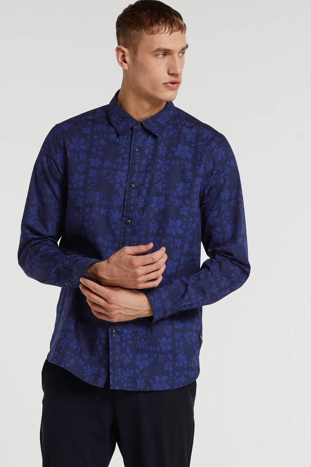 Scotch & Soda gebloemd regular fit overhemd donkerblauw, Donkerblauw