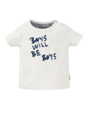baby regular fit T-shirt Tjeb met tekst wit