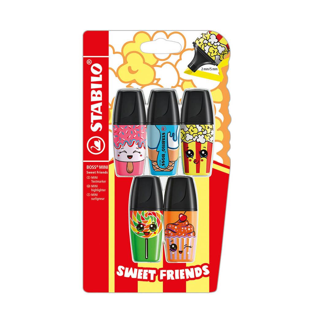 Stabilo BOSS MINI Sweet Friends edition 5 stuks blister, Multicolour