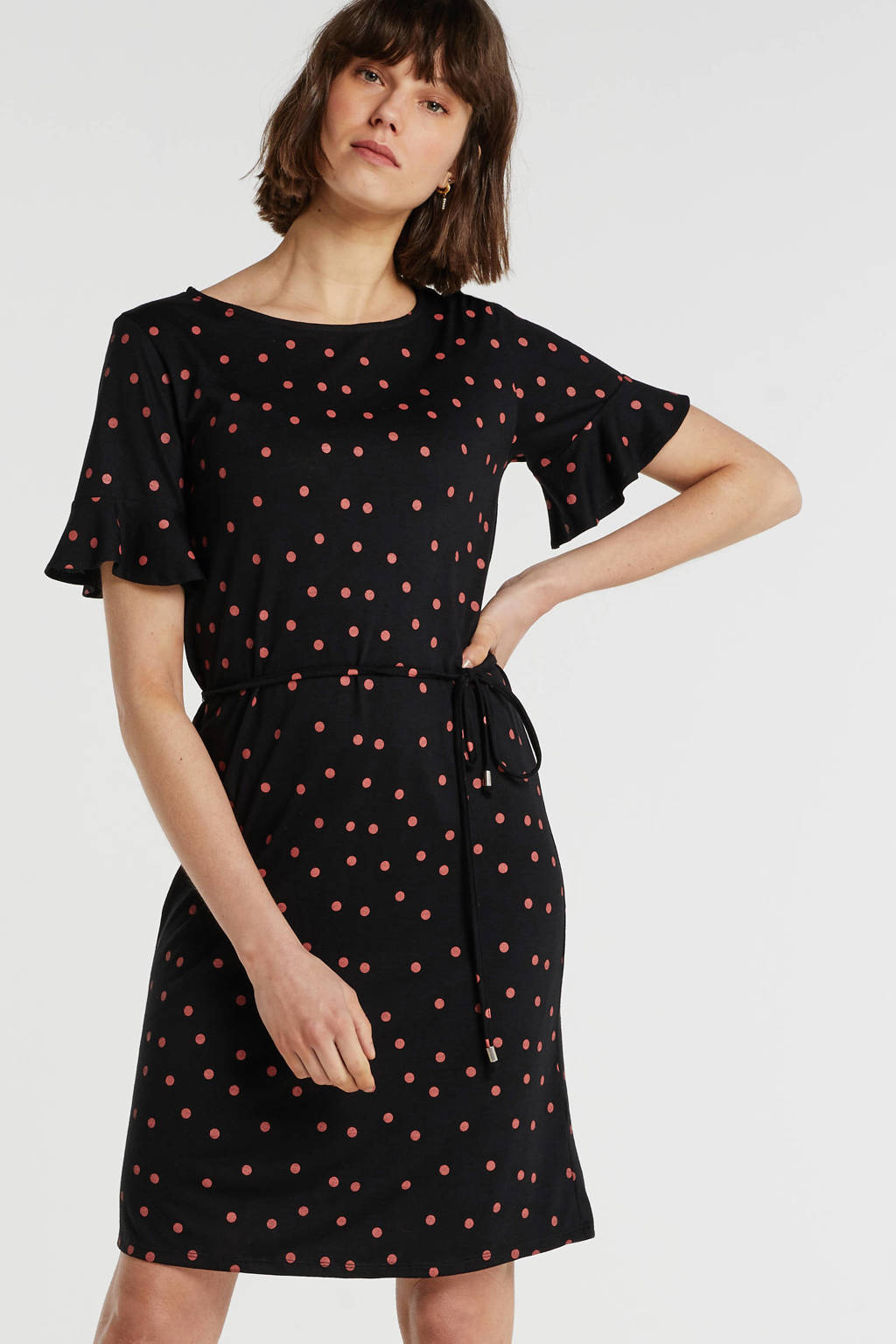 anytime jersey jurk met W2W polyester zwart met stippenprint, Zwart/rood