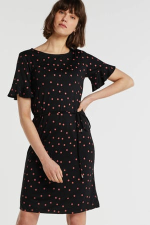 jersey jurk met W2W polyester zwart met stippenprint