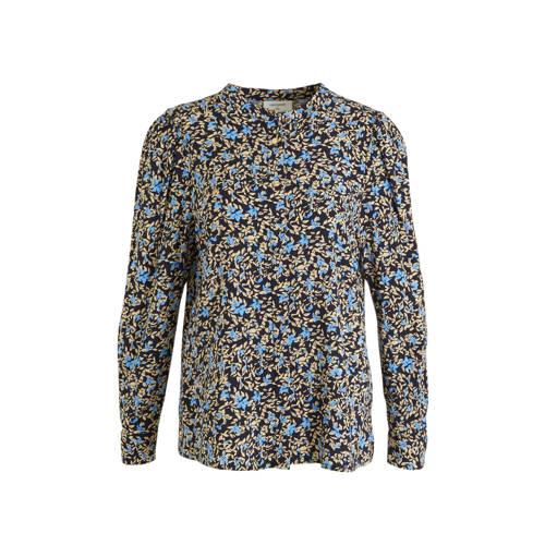 FREEQUENT gebloemde blouse donkerblauw/beige