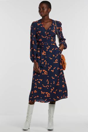 maxi jurk met all over print en ceintuur donkerblauw/oranje