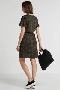 anytime jurk met slangenprint kaki/zwart, Kaki