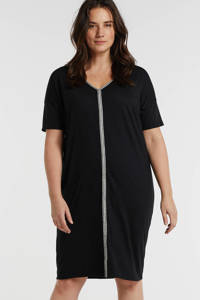 anytime gerecycled polyester jurk Plus size zwart, Zwart