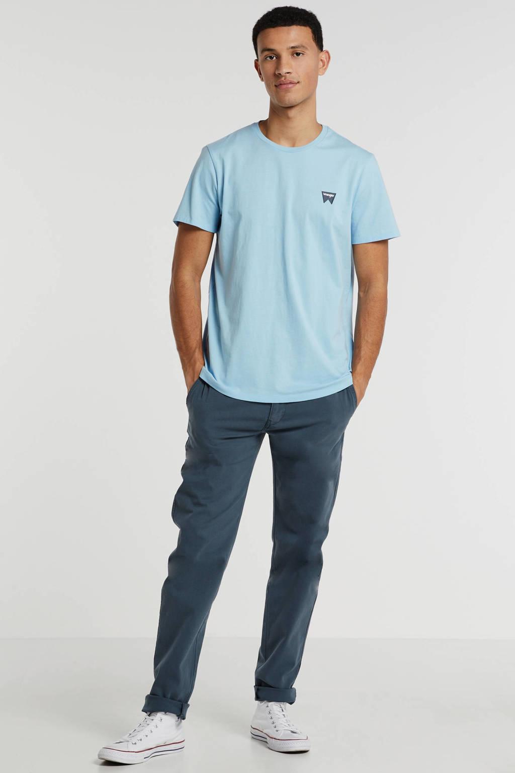 Wrangler T-shirt met logo cerulean blue, Cerulean Blue