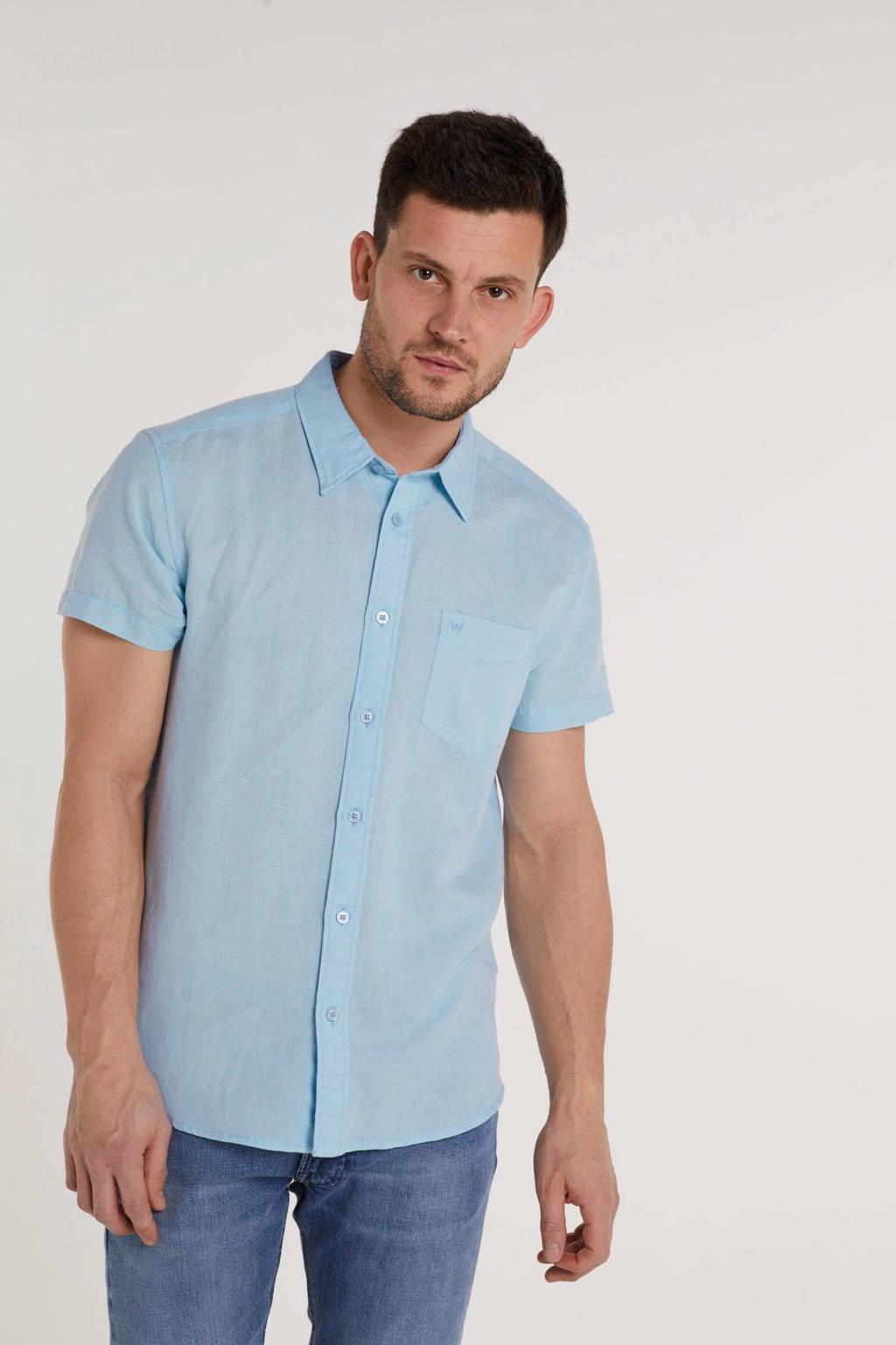 Wrangler regular fit overhemd met linnen lichtblauw, Lichtblauw
