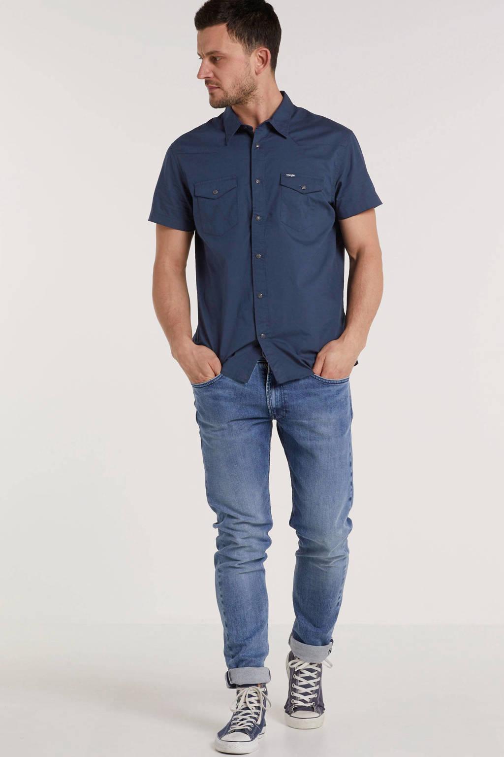 Wrangler regular fit overhemd marine, Marine