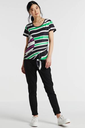 gestreept zwangerschapsshirt Shirt Knot Striped donkerblauw/wit/groen