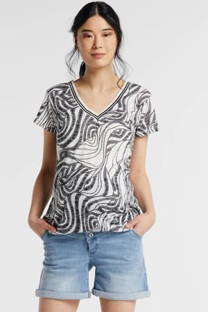 zwangerschapsshirt Top Rib met all over print naturel wit/grijs/goud