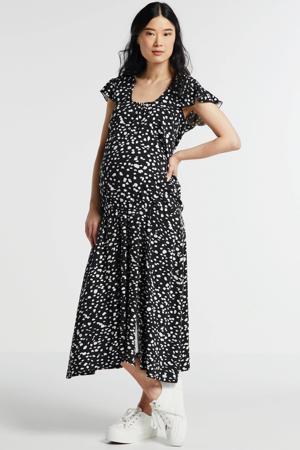 zwangerschapsshirt Shirt Ruffled met zijde en all over print zwart