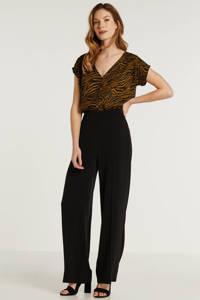 anytime blouse met zebraprint, Zwart/bruin