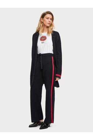 high waist loose fit broek met zijstreep blauw/rood